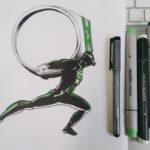 Auftragsarbeit: Mein erster Superheld. Green Lantern trägt die Last seiner Verpflichtung.