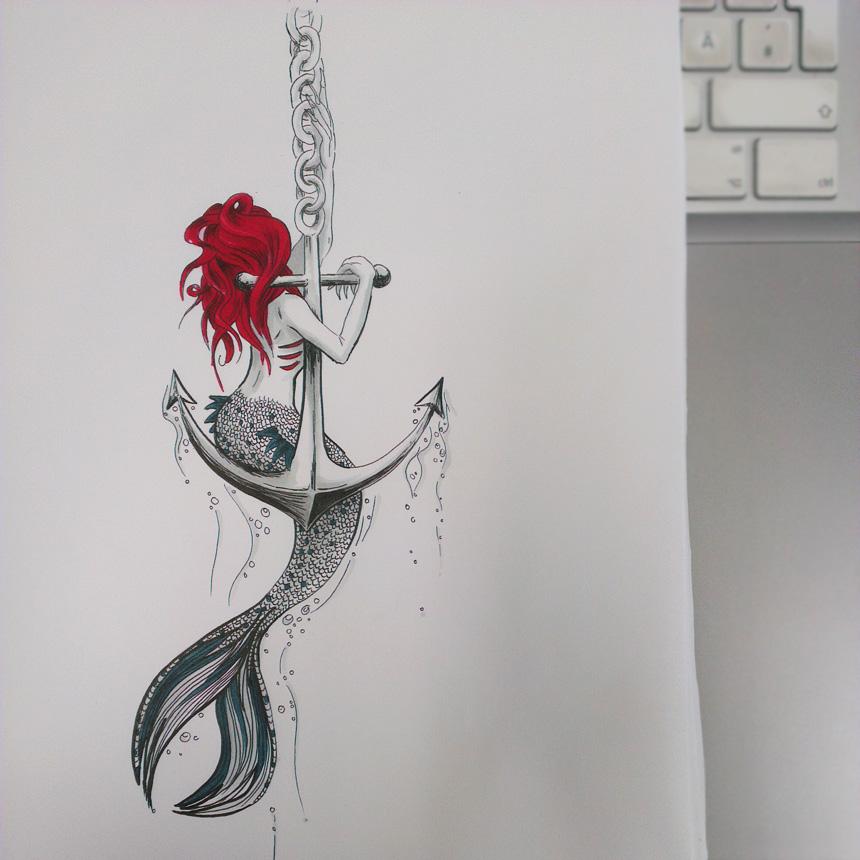 Meerjungfrau Zeichnen Bleistift Cmgdigitalstudios