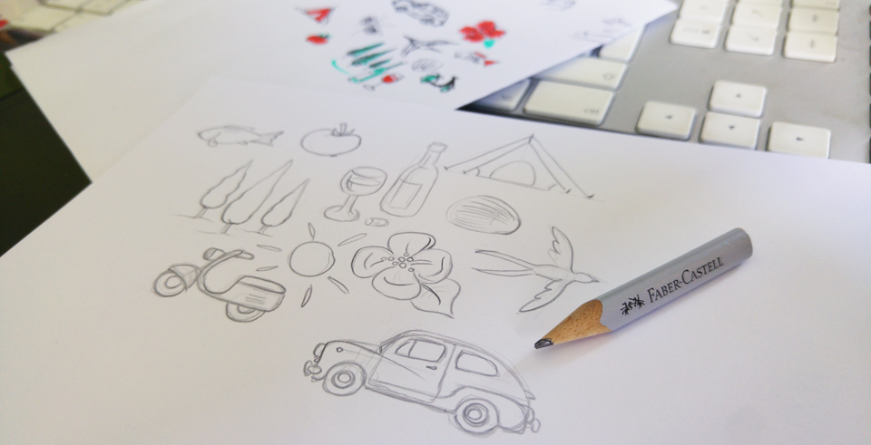 """Vom ganz groben Scribble zur immer noch groben Skizze: Meine gewählten Piktogramme """"Bella Italia"""""""