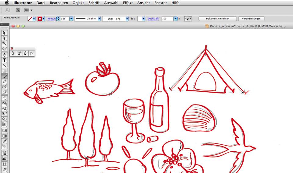 Ein Screebshot aus Illustrator - Nachzeichnen mit dem Pinselwerkzeug.