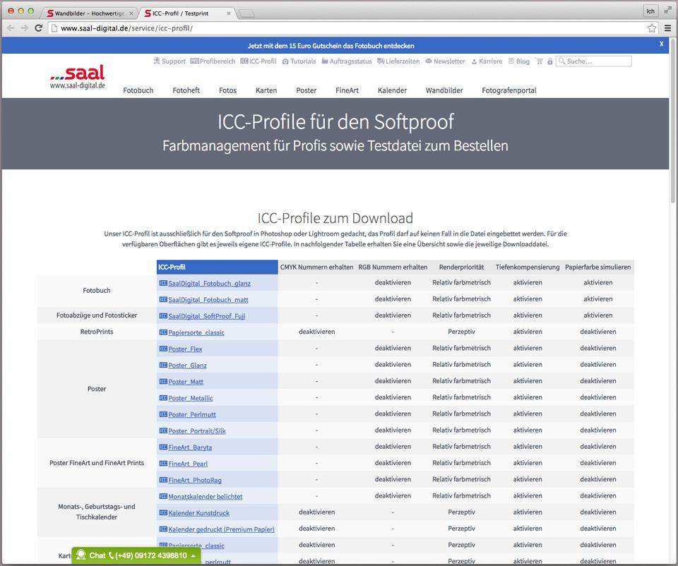 Downloadbereich der ICC Profile – Saal Digital stellt sie für jedes Produkt einzeln, aber auch als Zip zur Verfügung.