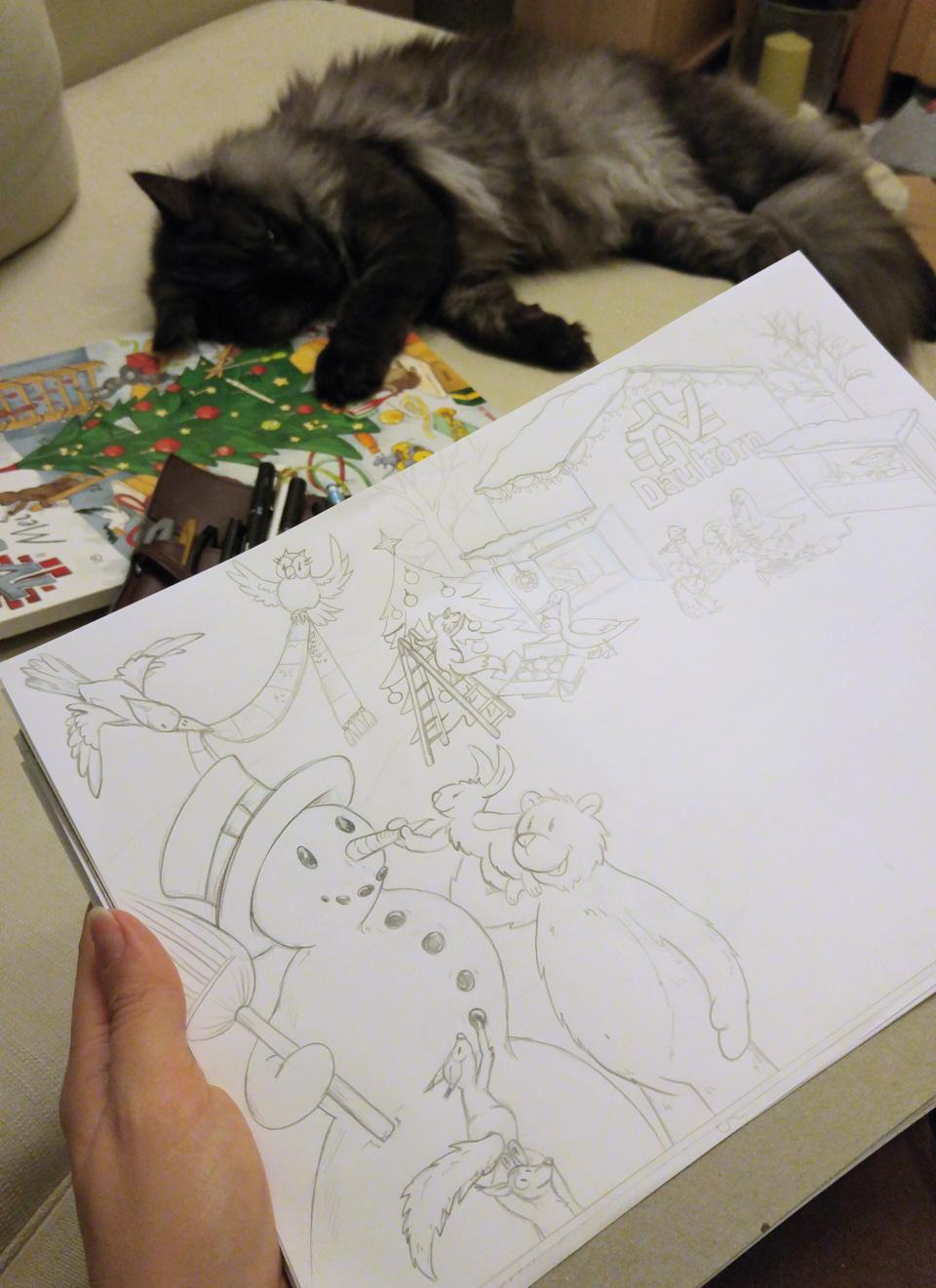 Unterstützung beim Zeichnen auf dem Sofa.