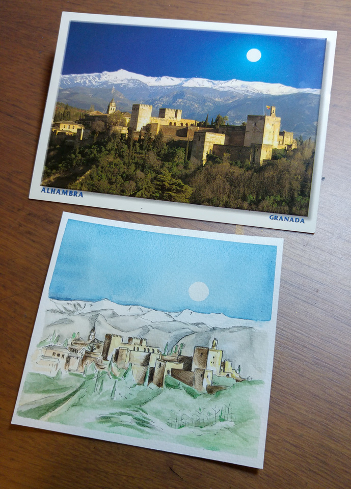 Nochmal zusammen: Postkarte aus Spanien und die Illustration davon.