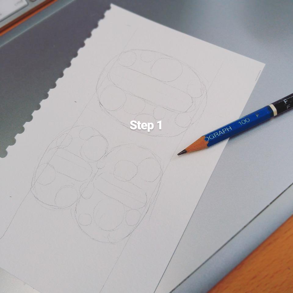 Step 1: Vorzeichnungen. Durch Kreise werden die großen und kleineren Blüten ausgewogen verteilt.