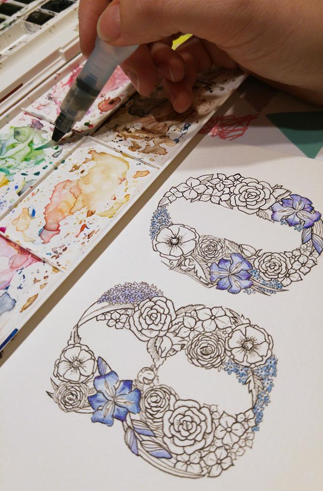 Coloration: Mit Aquarellfarbe werden die einzelnen Blüten eingefärbt.