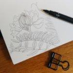 Feine Linien auf dem glatten Papier von Hahnemühle.