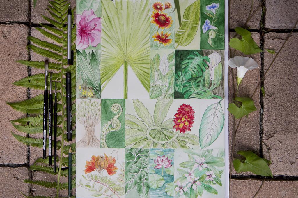 """Das fertige Mosaik """"Tropical Garden"""" nach einem Monat."""