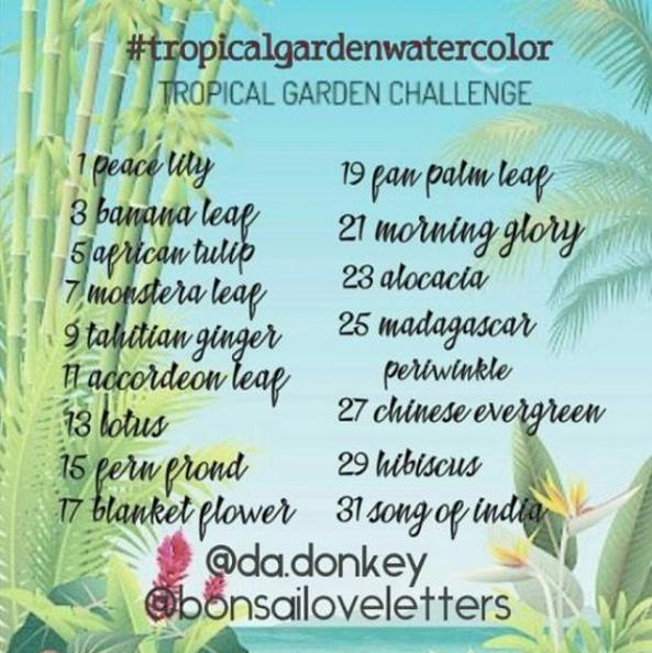 Die Liste der Instagram #tropicalgardenwatercolor Challenge.