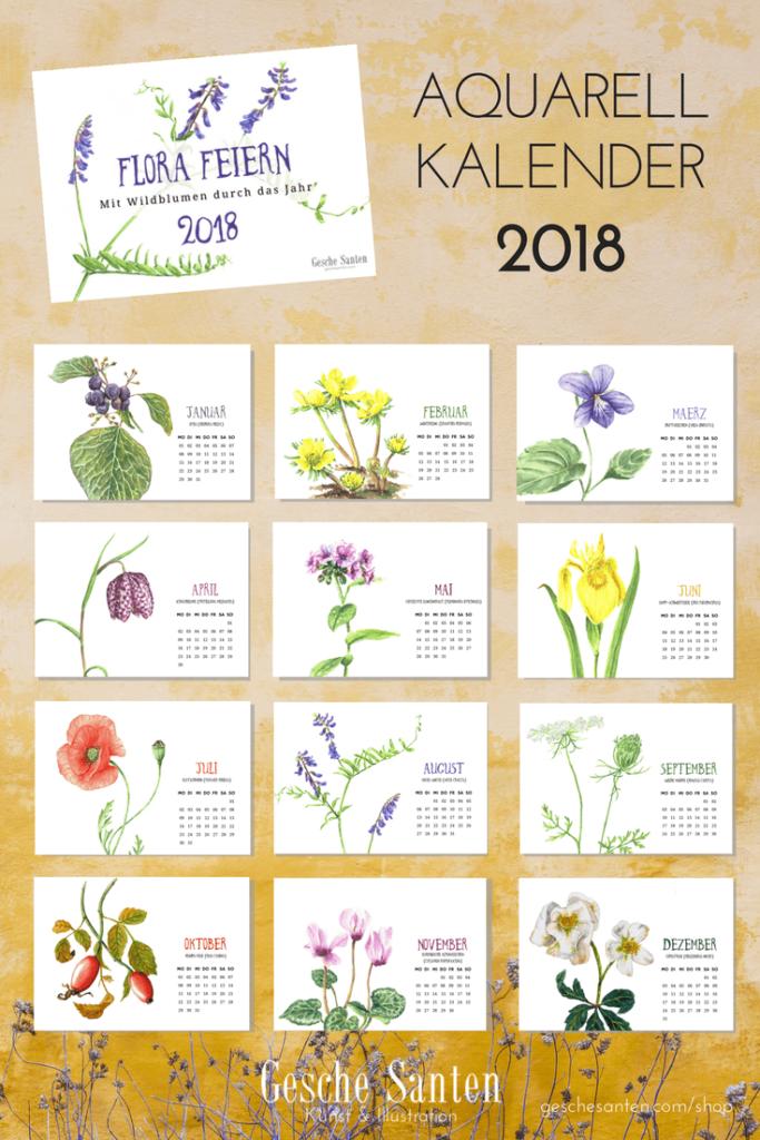 Alle Motive des Kalenders von Gesche Santen auf einen Blick. Welche Pflanze ist Dein Liebling?