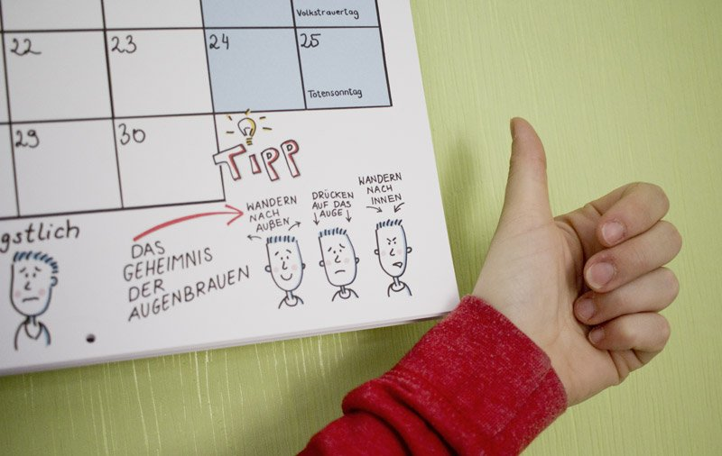 Tipps am Fuße des Kalendariums. Hier: Gesichtsausdrücke und Mimik.
