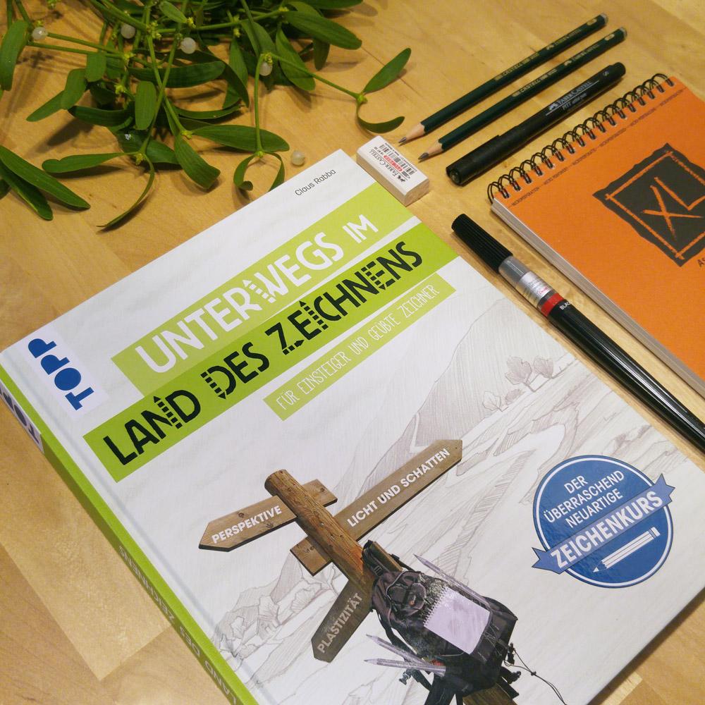 """Zu gewinnen gibt's das Buch """"Unterwegs im Land des Zeichnens"""" sowie Zeichenmaterial zum direkten Start."""