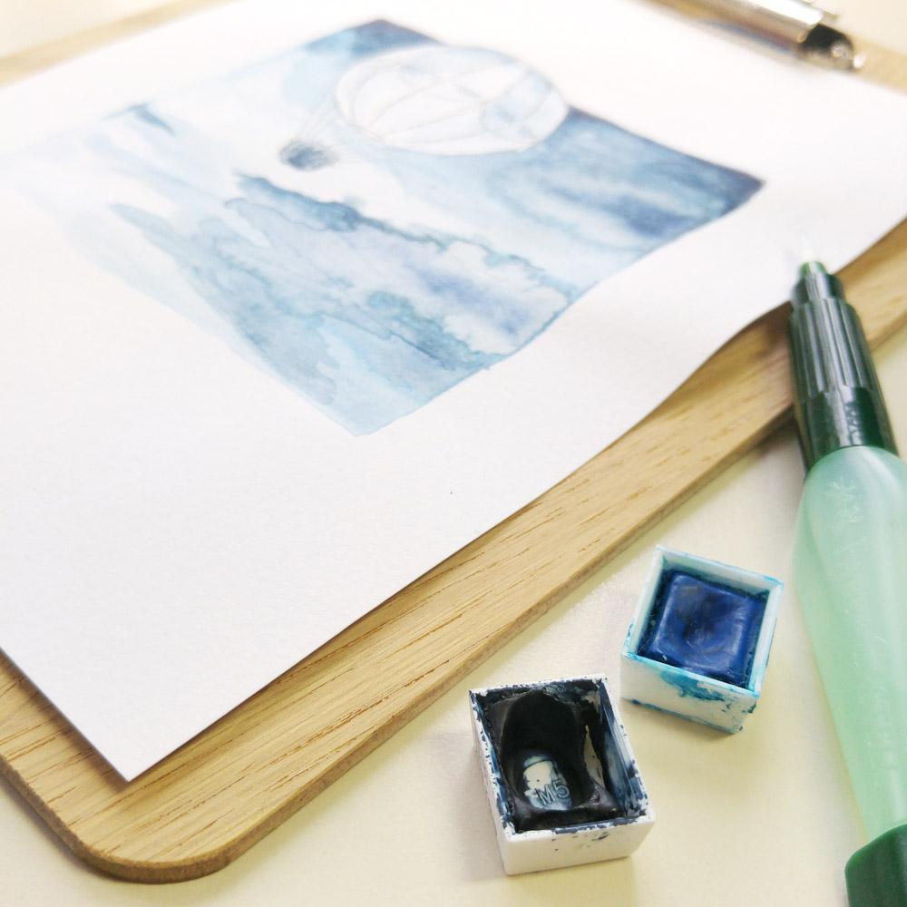 Mein Liebstes Blau ist das Indigo aus meinem Aquarellfarbkasten.