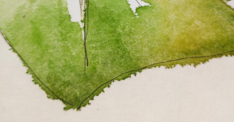 Viel Wasser ergibt viele Fransen. Die Fasern des Aqua Keilrahmen verhalten sich anders als man es von manchem Papier gewohnt ist. Aber auch das hat seinen Reiz.