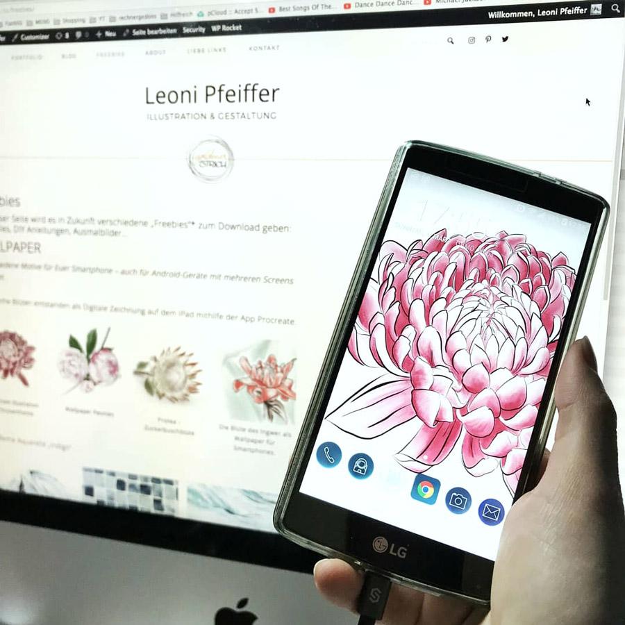 Die digitale Illustration vom iPad nun als Wallpaper auf meinem Smartphone.