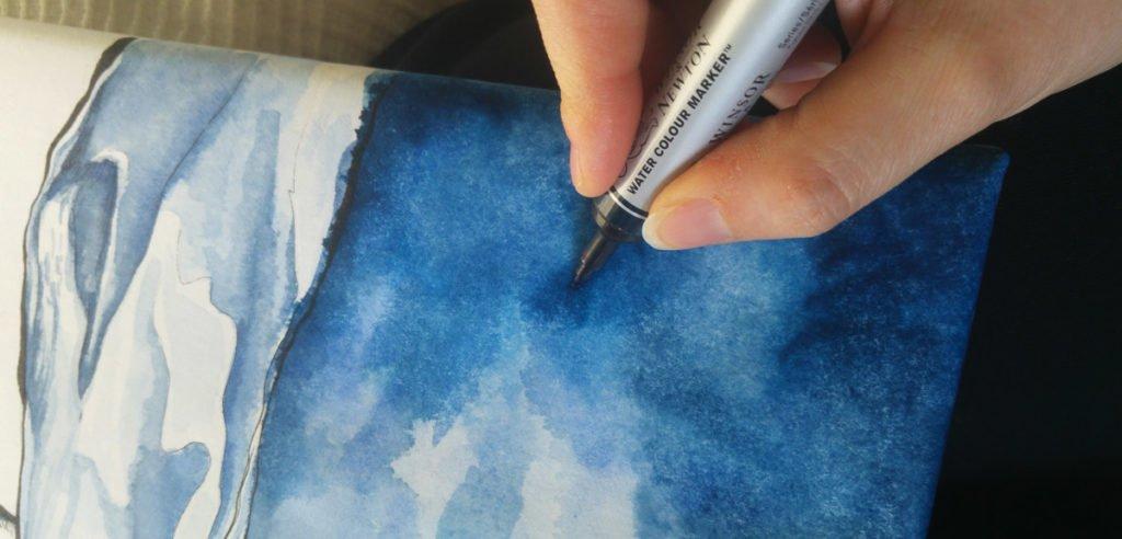Mehr intensive Farbe habe ich mit dem Watercolour Marker von Winsor and Newton auf die Leinwand gebracht.