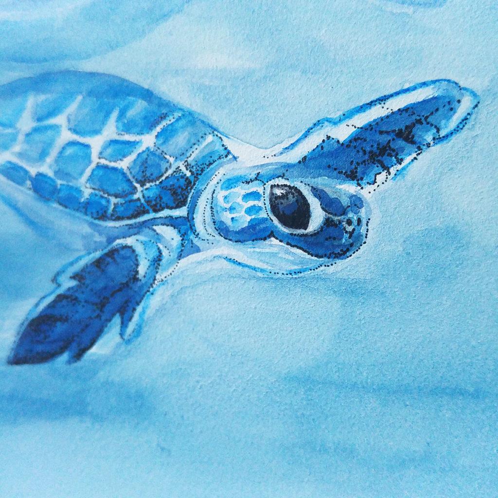 Feine Punkte mit Tusche aus dem Fineliner kompletieren die Schildkröte.