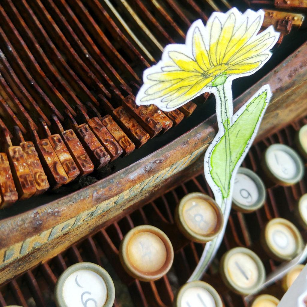 So wie auch diese Schreibmaschine im Garten meiner Mutter steht, könnten wirklich Blumen durch die einzelnen Tasten wachsen.
