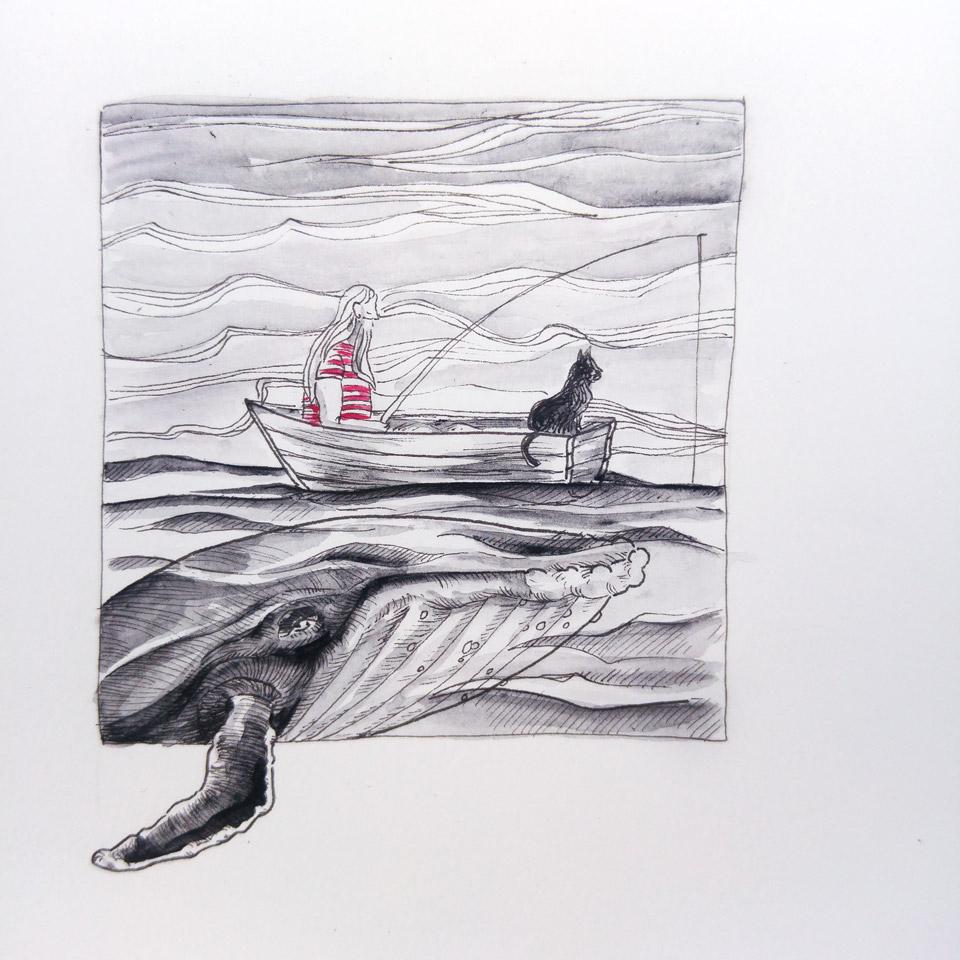 Fischer und Katze auf ihrem kleinen Boot.