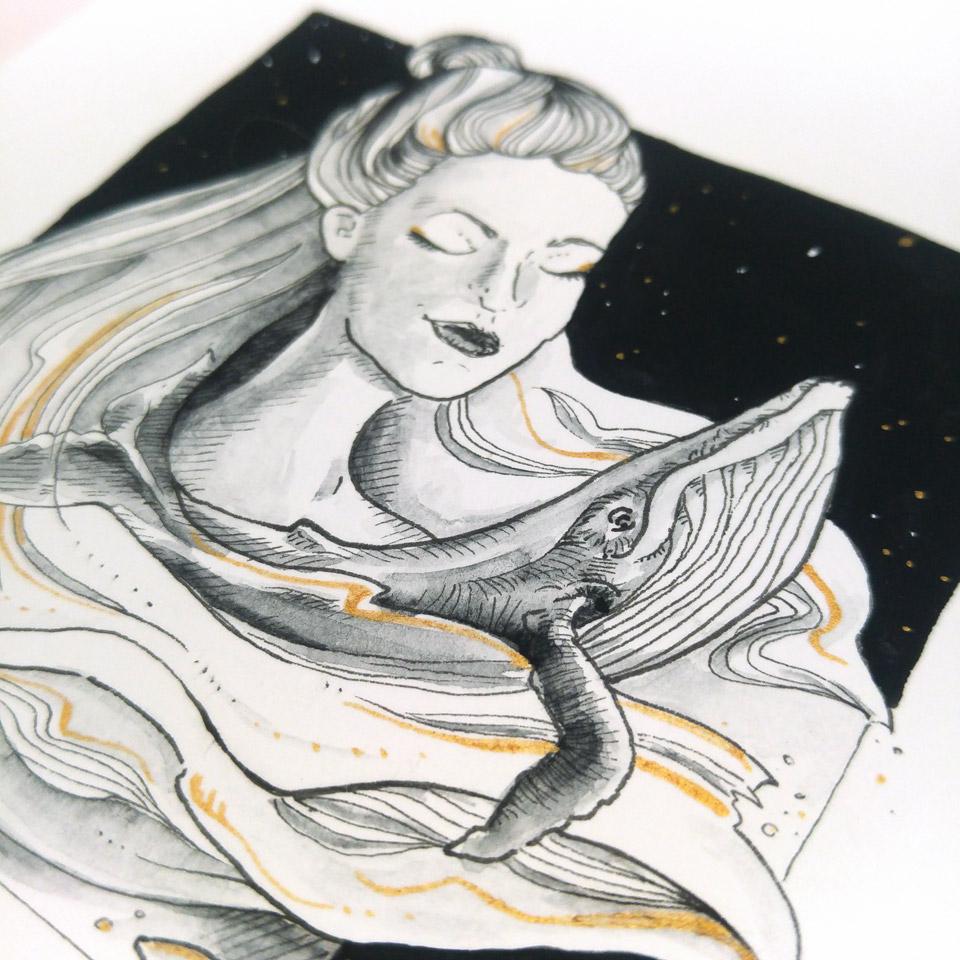 Das erste Motiv nicht nur mit Buckelwal, sondern auch mit einem weiblichen Gesicht.