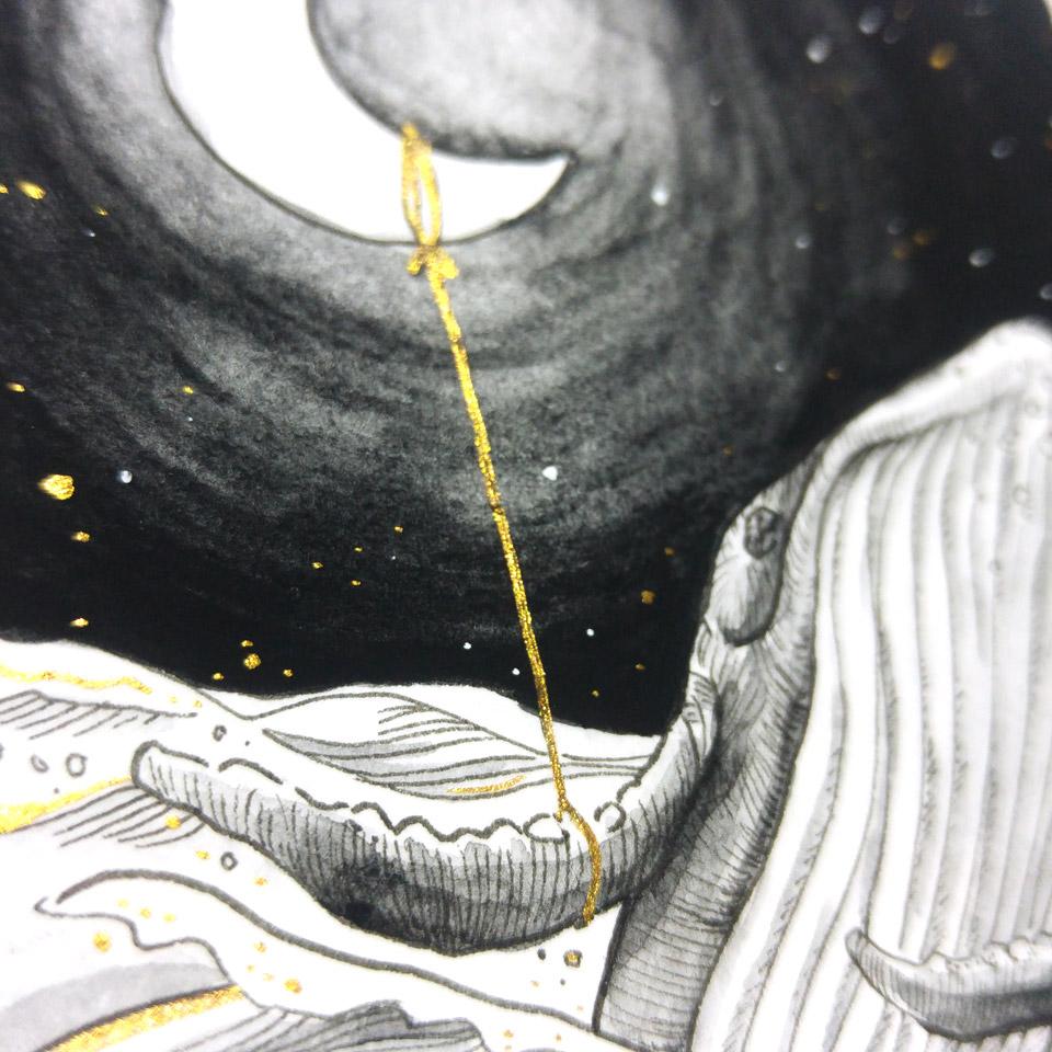 Der Mond am dünnen goldenen Band.