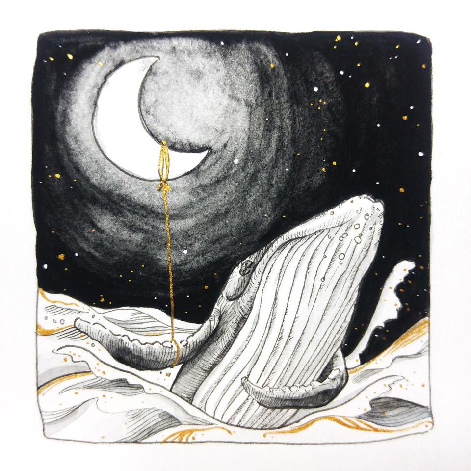 Der Wal und der Mond im gemeinsamen Tanz.