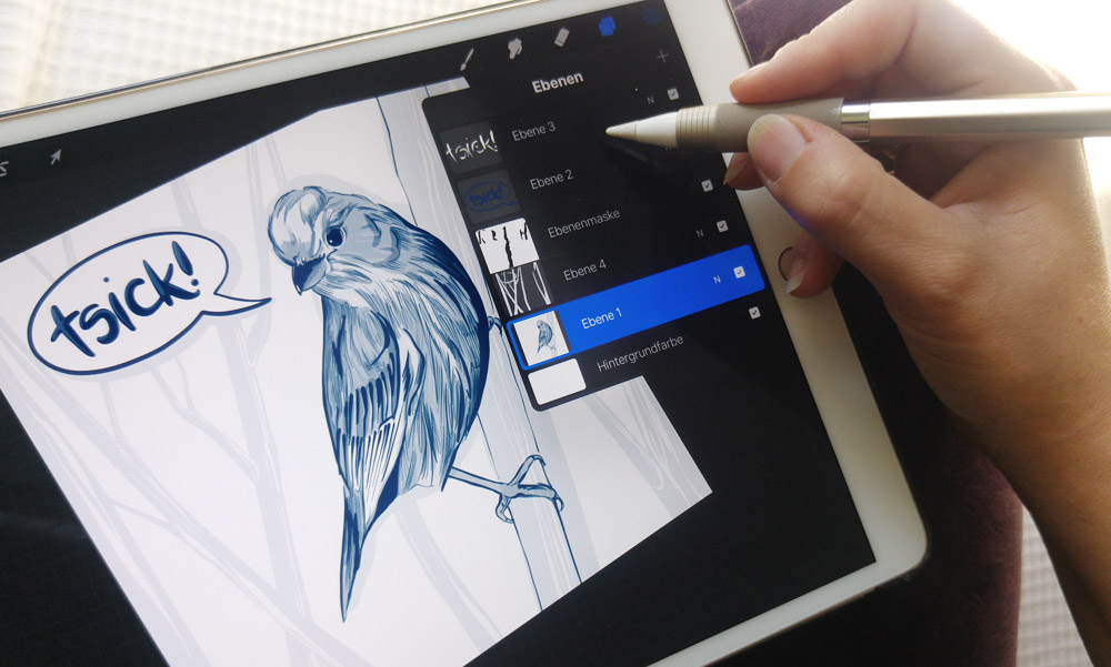 Arbeiten auch mit Ebenenmaske – Die Illustration des Finken in einer neuen Datei um dort den Hintergrund zu zeichnen.