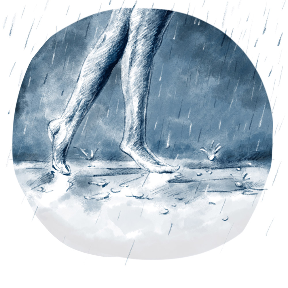 Wenn der Regen mit uns tanzen geht… Illustration von tanzenden Füßen in Pfützen.