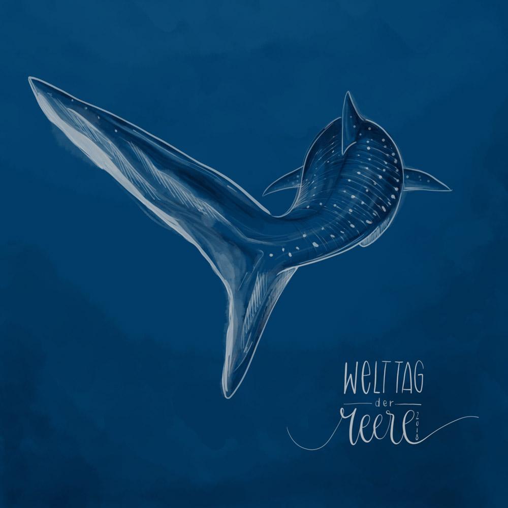 Zum Welttag der Meere habe ich einen Walhai gezeichnet, der durchs dunkle Meer gleitet.