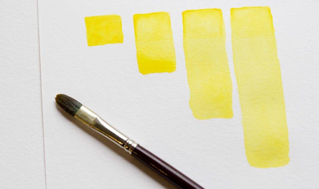 Die vier Quadrate zeigen die Intensivität der Gouachefarbe und der Pigmente.