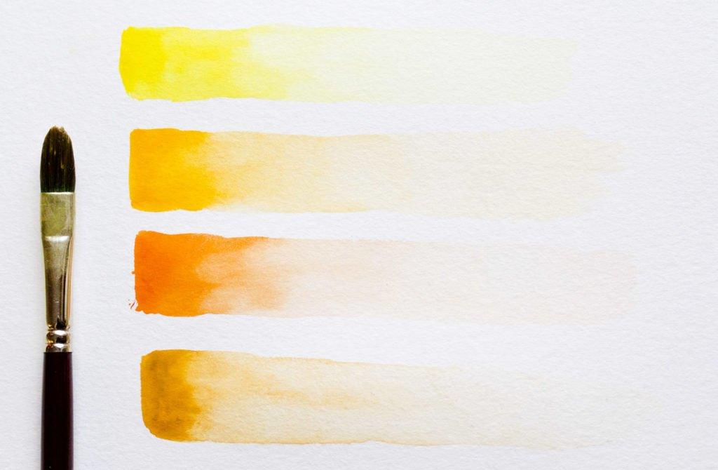 Farbstriche: Mit Wasser wieder angelöste Gouachefarbe zu einem Verlauf streichen.