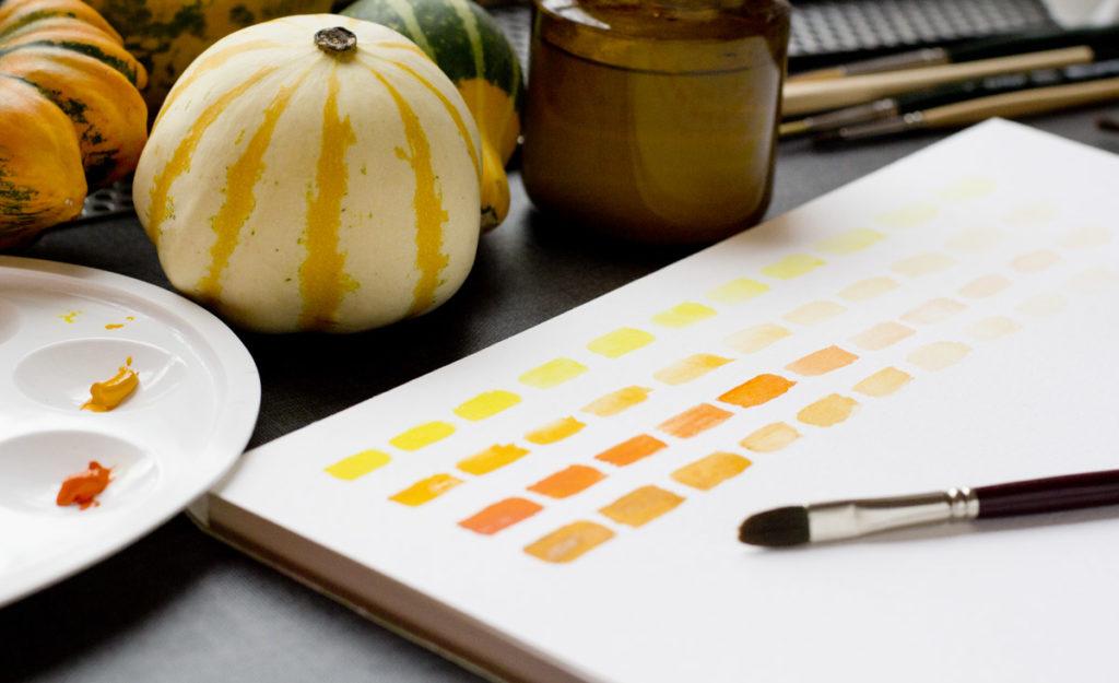Farbfelder: Von links nach rechts mit immer weniger Farbe und mehr Wasser.