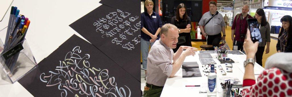 Joachim Propfe zeigte die Calligraphy Stifte sowie die neuen weißen PITT Tuschestifte von Faber-Castell.