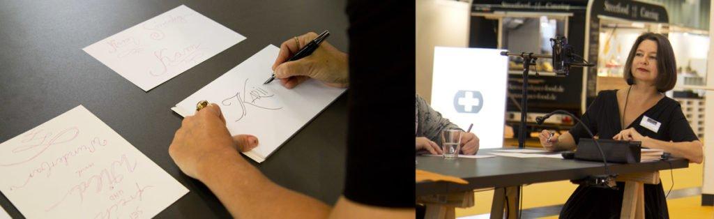 Petra Wöhrmann bringt Ihre Teihlnehmer dazu schöne Buchstaben mit Füller zu schreiben.