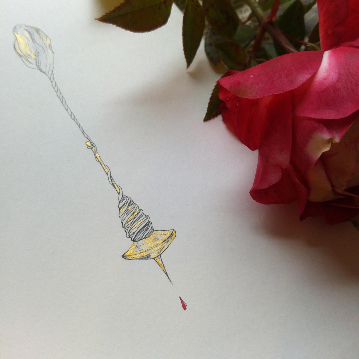 Das Gold schimmert auf der spitzen Spindel an der sich Dornröschen gestochen hat.