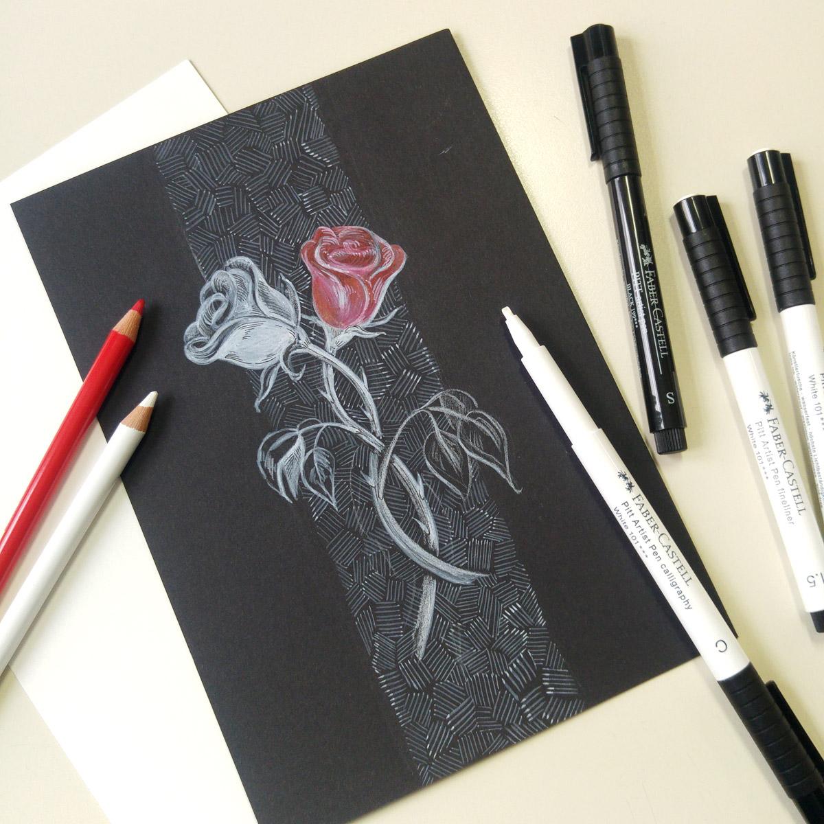 Das Bild für Schneeweißchen und Rosenrot fällt ein wenig aus meiner Reihe: Die beiden Rosen auf schwarzem Papier mit weißen Stiften.