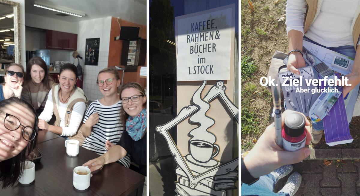 Eine Gruppe Lettering-Begeisterte beim Besuch eines großen Künstlerbedarfs im Rhein-Main-Gebiet.