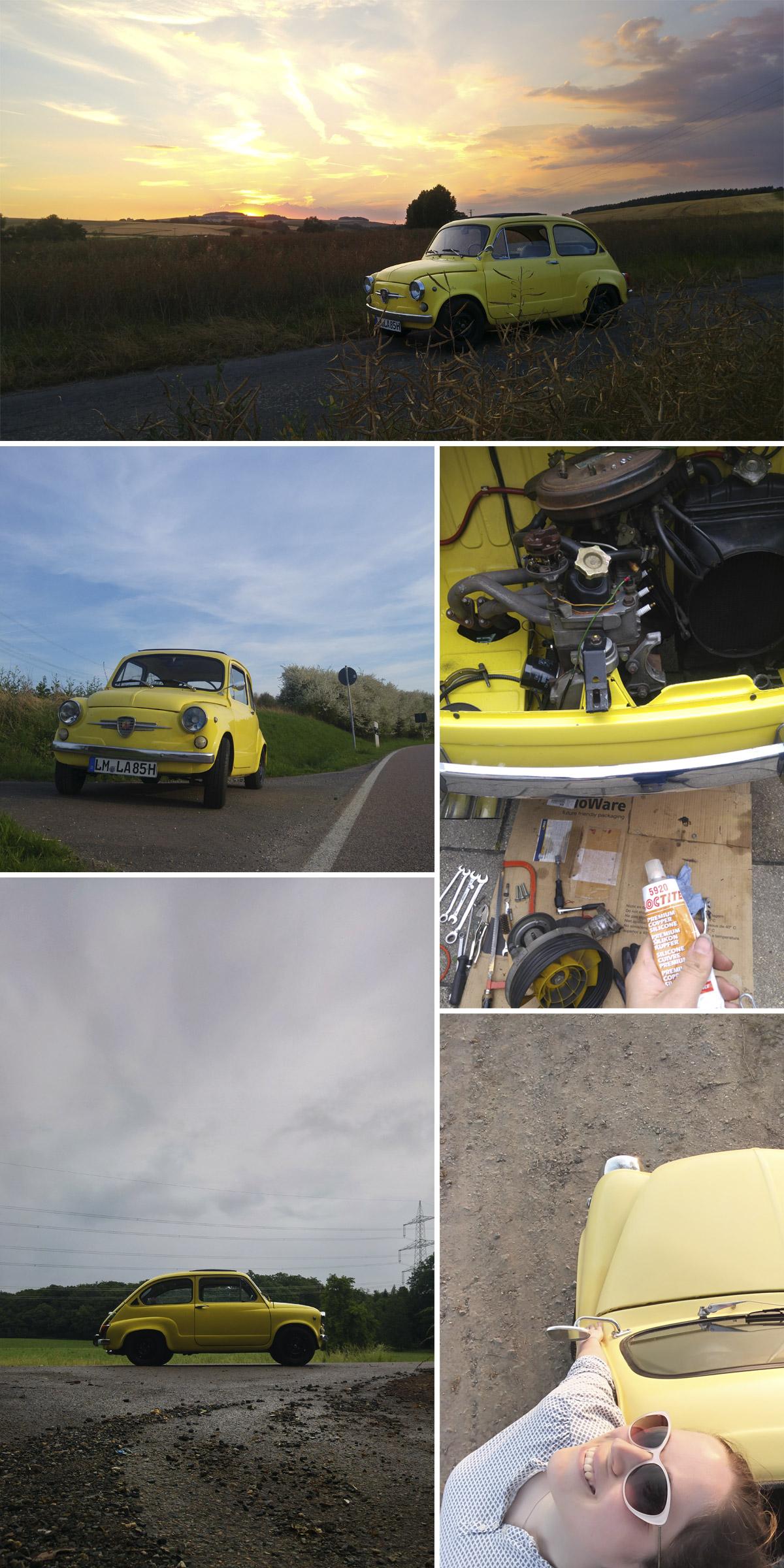 Vom Frühjahr bis in den Herbst – auch mit ein paar Ausfällen – hat mich der gelbe Fiat 600 (eigentlich ein Seat 770) begleitet.