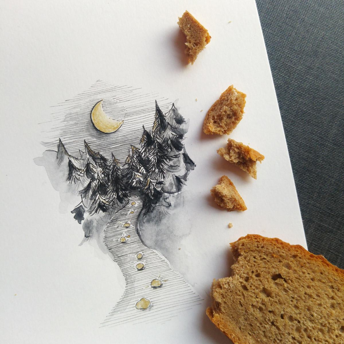 Beim zweiten Mal hatte Hänsel nur das Brot um mit den Krumen den Weg in den Wald zu markieren. Doch die Vögel pickten sie auf.