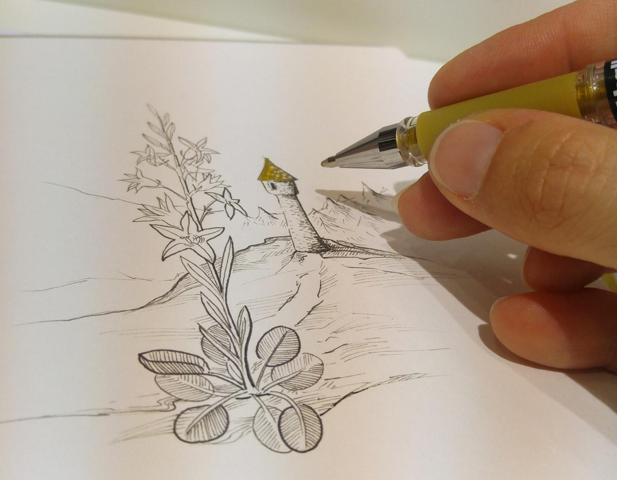 Während dem Besuch auf der PBS-Messe Insights-X hatte ich mir am Stand von Uniball einen goldenen Gelstift geliehen um das Bild zu vollenden.