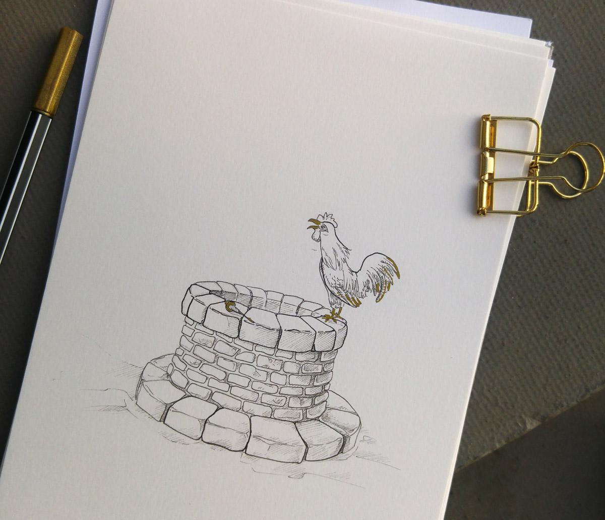 """""""Kickericki unsre Goldmarie ist wieder hie!"""" so empfing der Hahn auf dem Brunnen, das Mädchen nachdem es von Frau Holle reich entlohnt zurück kehrte."""