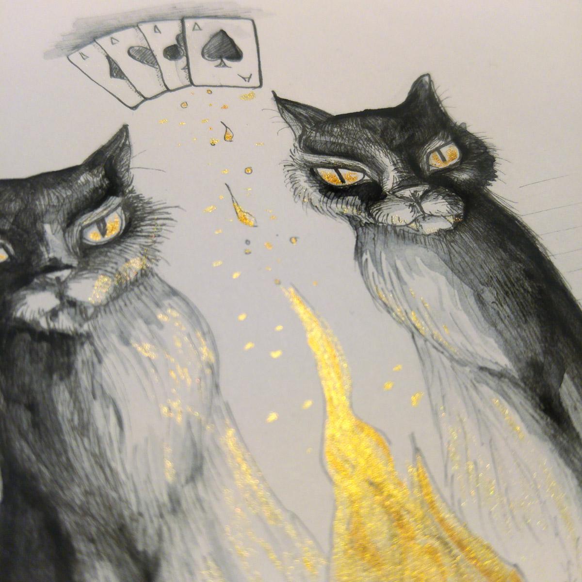 Der Feuerschein auf dem Fell und in den Augen der unheimlich großen schwarzen Katzen.