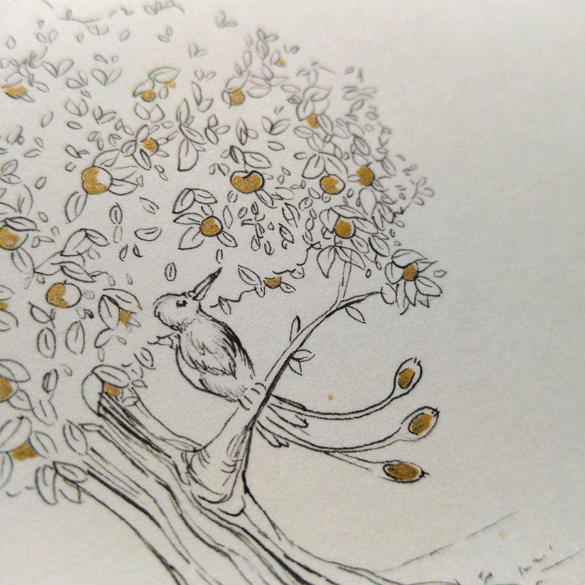 Der goldenen Vogel stahl des Nachts den goldenen Apfel vom Baum des Königs.