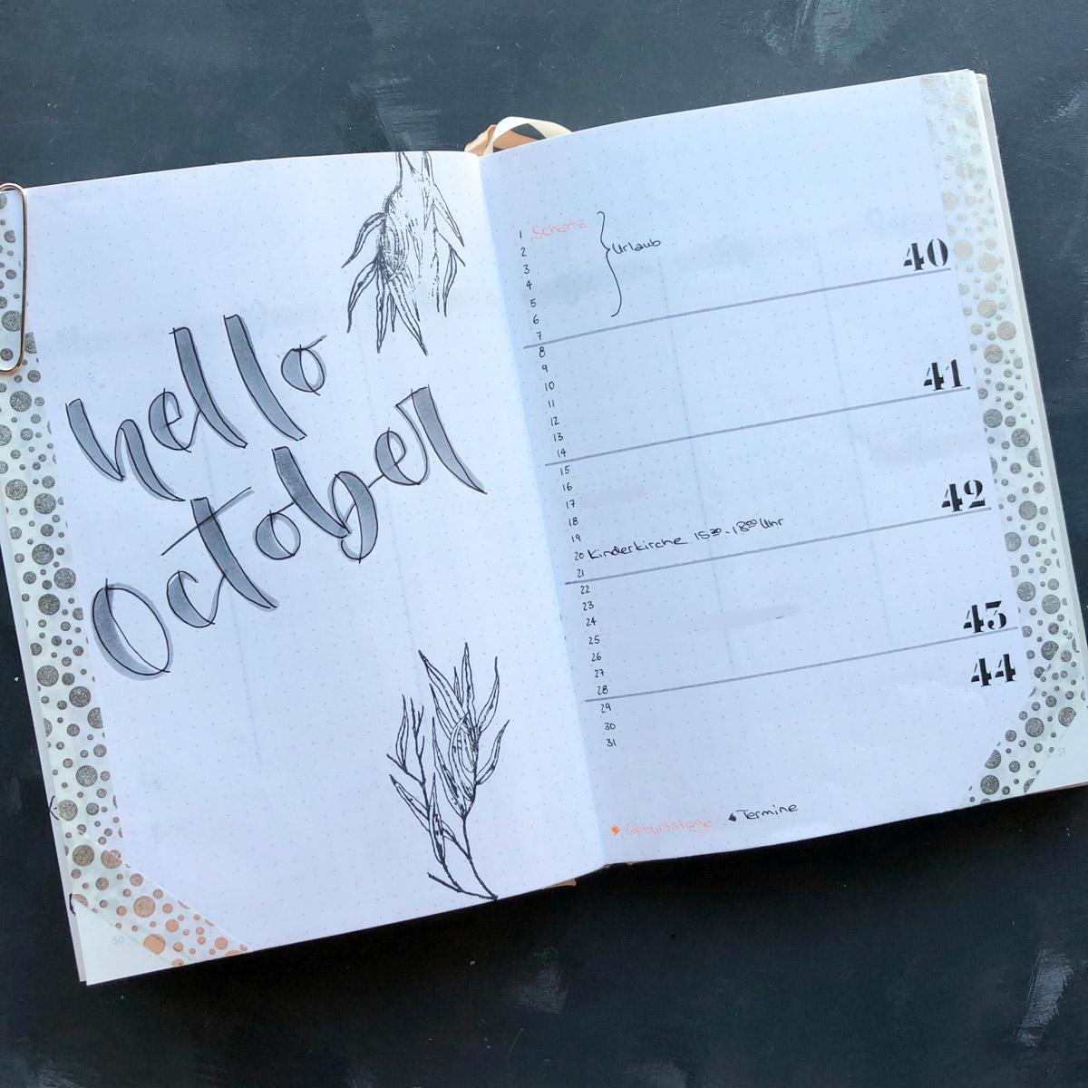 Hello Oktober! Die Monatsübersicht im monthly Spread.