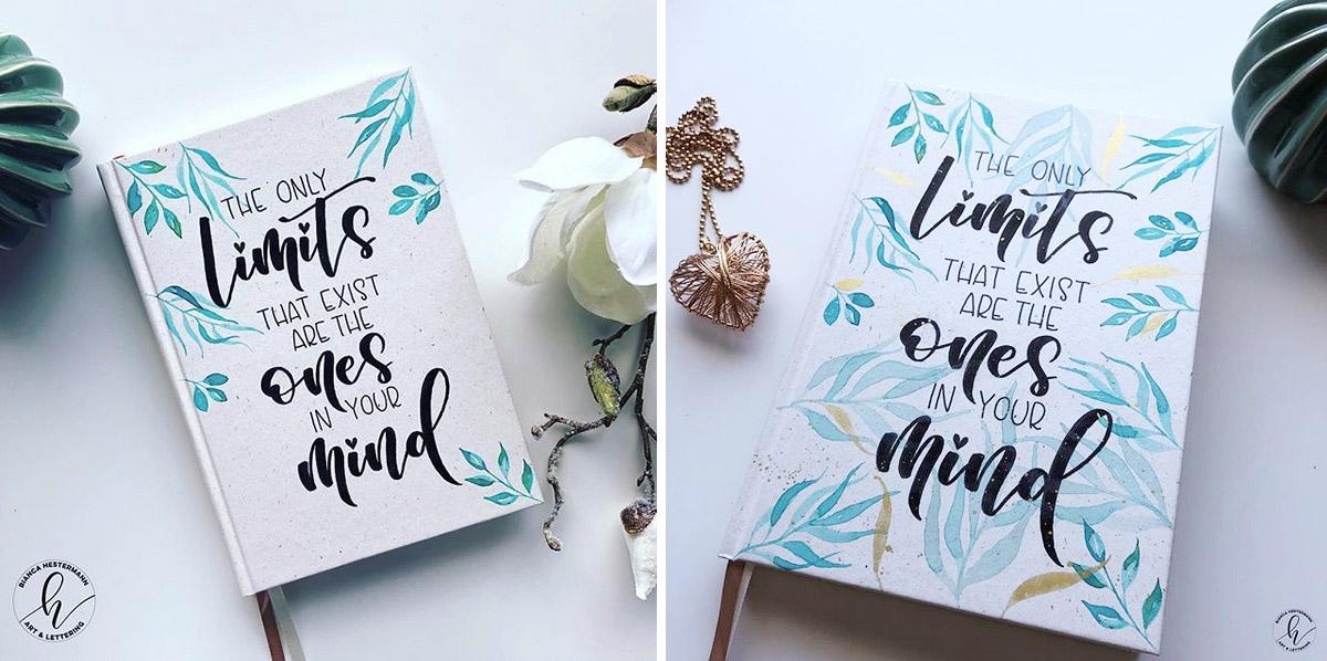 Bianca hat das Cover des Roessler Buches mit Aquarell und einem Lettering personalisiert.
