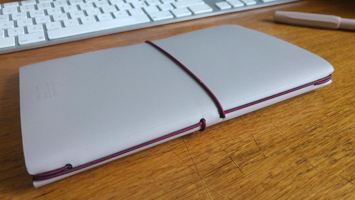 Das System mit dem Gummiband, das Hefte und Umschlag zusammen hält.