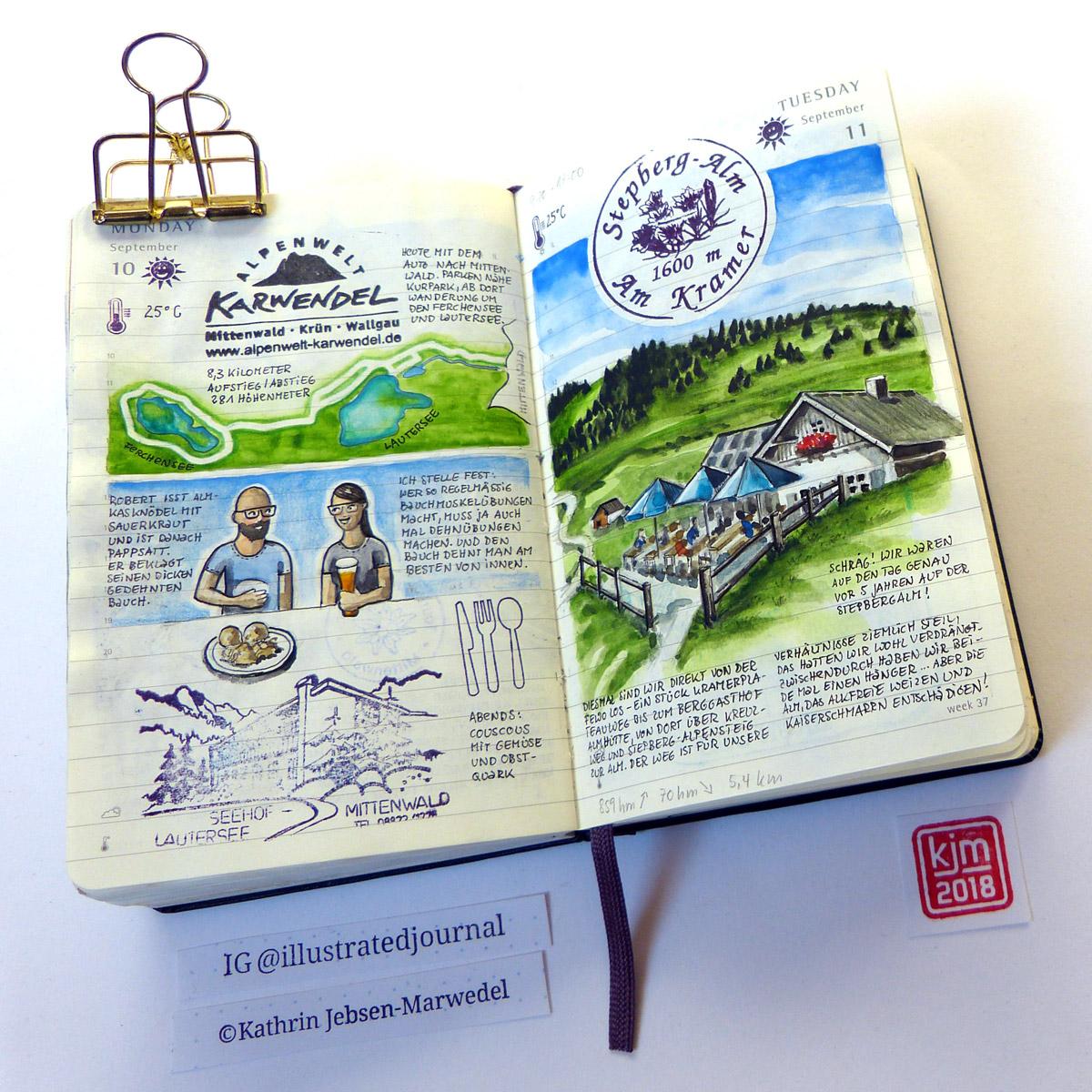 Eine Seite im Illustrated Journal von Kathrin Jebsen-Marwedel.