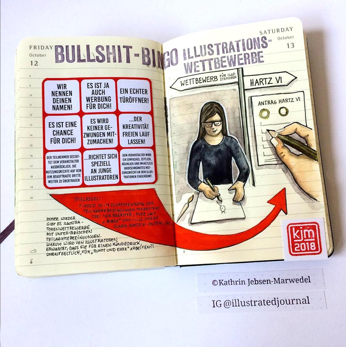 Mein Favorit von Kathrin Jebsen-Marwedel: Das Bullshit-Bingo zu Illustrations-Wettbewerben. Leider so wahr…