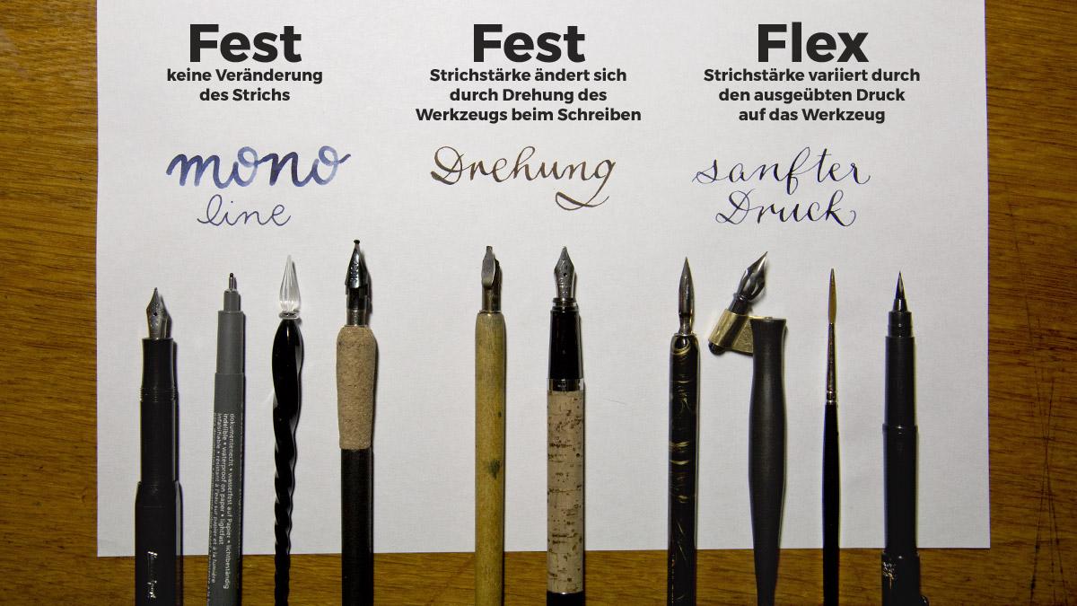 Unterschiede der Werkzeuge ergeben Unterschiede in den Strichstärken.