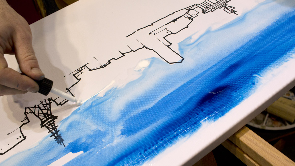 Farbe kommt mit den Schmincke Akademie Acryl Colour Inks auf die Leinwand.