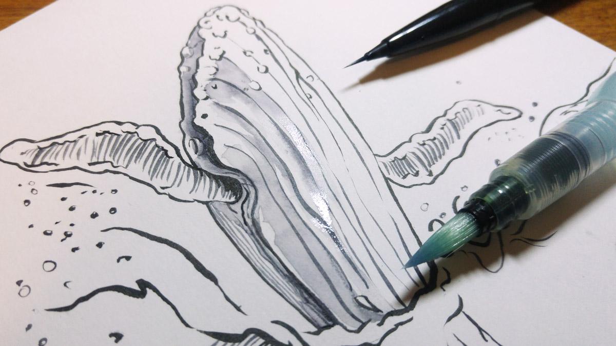 Zeichnen mit dem neuen Pentel Brush Sign Pen Artist und direktes wieder anlösen der Farbe.